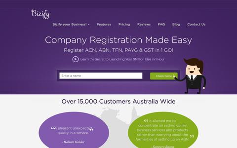 Screenshot of Home Page bizify.com.au - Company Registration with Online Application Form in Australia - captured June 17, 2015