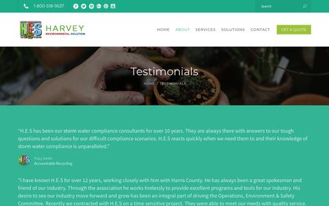 Screenshot of Testimonials Page harveyenvironmentalsolution.com - Environmental Permitting Testimonials | Houston TX | Harvey Environmental - captured Nov. 4, 2018