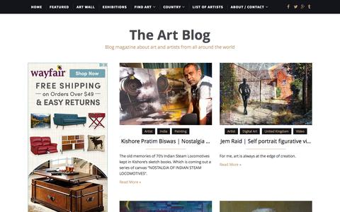 Screenshot of Home Page the-art-blog.info - The Art Blog | Blog magazine about art and artists from all around the world - captured Jan. 30, 2017