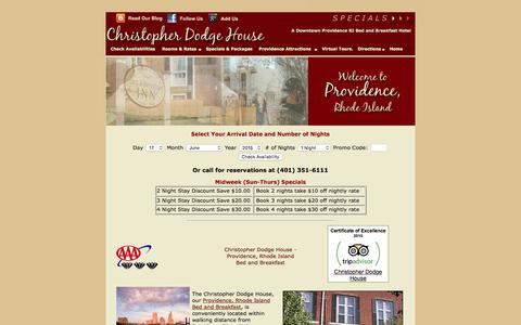 Screenshot of Home Page providence-hotel.com - Providence Rhode Island Bed and Breakfast, Providence Hotels - captured June 17, 2016