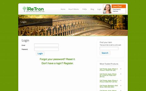 Screenshot of Login Page iretron.com - Login - iReTron.com - captured Sept. 12, 2014