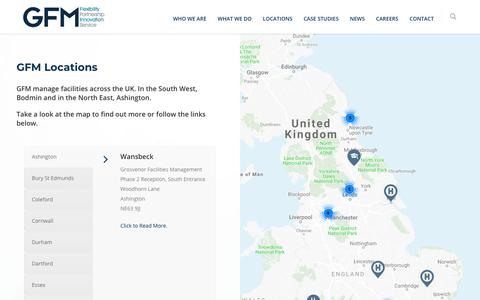 Screenshot of Case Studies Page Locations Page gfm-uk.com - Locations |  GFM – Facilities & Building Management, Catering, Cleaning, Hygiene - captured Nov. 9, 2018