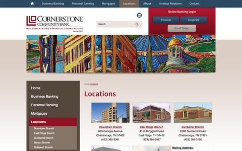 Screenshot of Locations Page cscbank.com - Locations | Cornerstone Community Bank - captured Oct. 3, 2014