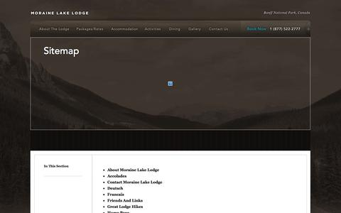 Screenshot of Site Map Page morainelake.com - Sitemap | Moraine Lake Lodge - captured Oct. 9, 2014