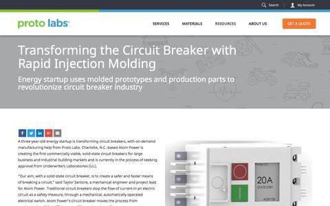 Screenshot of Case Studies Page protolabs.com - Case Study: Transforming the circuit breaker with rapid injection molding - captured Sept. 29, 2017