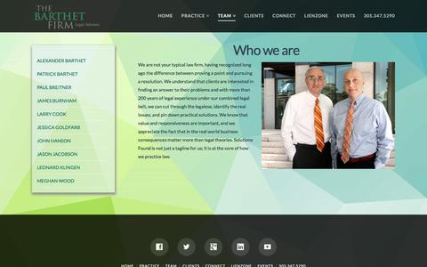 Screenshot of Team Page barthet.com - Team | Solutions Found | The Barthet Firm - captured Oct. 22, 2017
