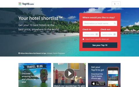 Screenshot of Home Page top10.com - Top10.com - Your hotel shortlist - hotel deals - captured Sept. 17, 2014