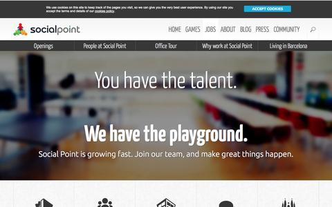 Screenshot of Jobs Page socialpoint.es - Jobs: Join our team! We're Hiring! - captured Sept. 17, 2014