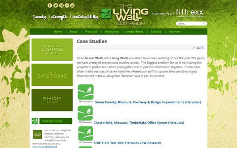 Screenshot of Case Studies Page thelivingwallco.com - Case Studies - captured Oct. 3, 2014