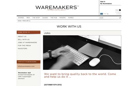 Screenshot of Jobs Page waremakers.com - Work with us | Waremakers - captured Sept. 11, 2014
