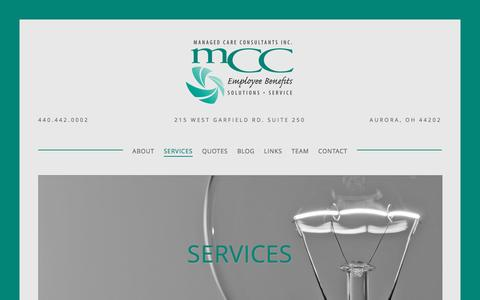 Screenshot of Services Page mccinc.biz - Services — Managed Care Consultants, Inc. - captured Nov. 19, 2016