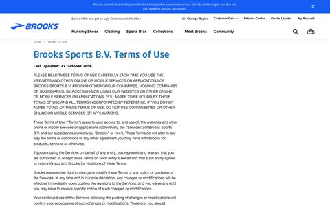 Screenshot of Terms Page brooksrunning.com - Brooks Sports, Inc. Terms of Use - captured Nov. 19, 2017