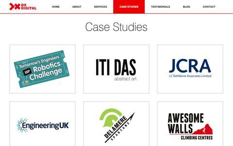 Screenshot of Case Studies Page dxdigital.co.uk - Case Studies | DX Digital Ltd - captured Oct. 7, 2018