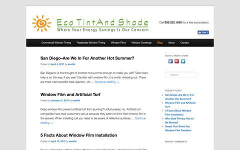 Screenshot of Blog ecotintandshade.com - Window Film & Tint Blog - Eco Tint and Shade - captured July 14, 2017