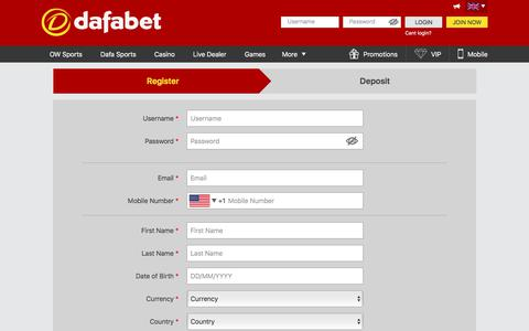Screenshot of Signup Page dafabet.com - Start betting today with Dafabet! Sign up now! - captured Aug. 5, 2018