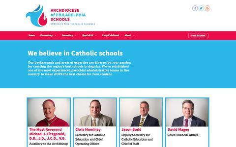 Screenshot of Team Page aopcatholicschools.org - We believe in Catholic schools | Archdiocese of Philadelphia Schools - captured May 3, 2016