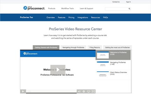 Screenshot of intuit.com - ProSeries Video Resource Center | Intuit - captured July 22, 2017