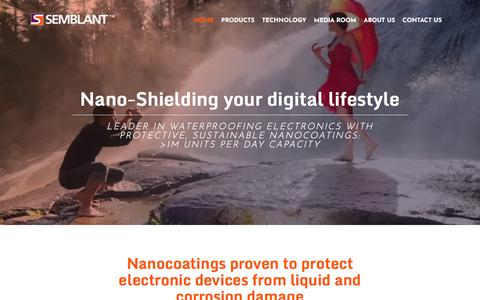 Screenshot of Home Page semblant.com - Waterproofing Electronics with Nano-Shield Technology | Semblant : Semblant - captured Sept. 21, 2018