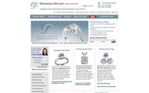 Screenshot of Home Page diamonds-usa.com - Loose Diamonds,Engagement Rings & Diamond jewelry since 1997 by Diamonds-USA - captured Sept. 23, 2014