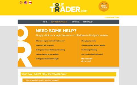 Screenshot of FAQ Page soletrader.com - SoleTrader.com - Low cost websites | Business clothing - FAQs - captured Nov. 5, 2014