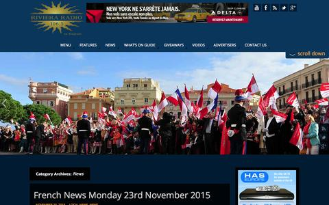 Screenshot of Press Page rivieraradio.mc - News Archives - Riviera Radio In English - captured Nov. 23, 2015