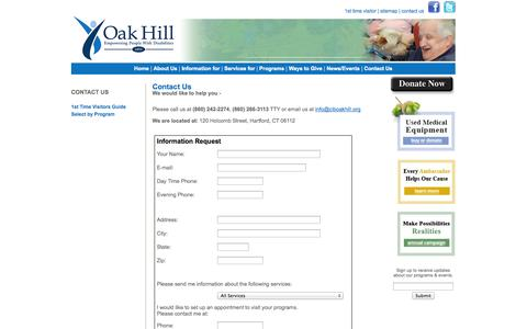 Screenshot of Contact Page ciboakhill.org - Oak Hill : Contact Us - captured Oct. 1, 2014