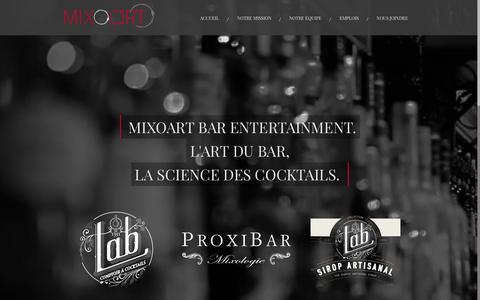 Screenshot of Home Page mixoart.com - Mixoart Bar Entertainment. L'Art du bar, la science des cocktails - captured Jan. 21, 2015