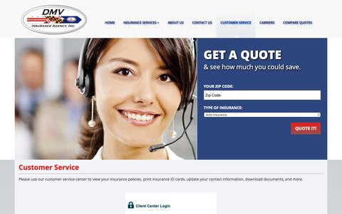 Screenshot of Support Page dmvinsuranceagency.com - Customer Service | DMV Insurance Agency, Inc - captured Dec. 9, 2018
