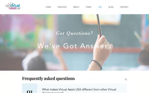 Screenshot of FAQ Page virtualassistusa.com - Questions and Answers about Working with a Virtual Assistant - captured Nov. 3, 2019