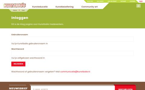 Screenshot of Login Page kunstbalie.nl - Inloggen   Kunstbalie - captured June 9, 2017