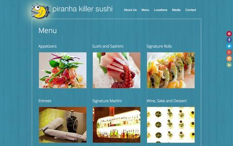 Screenshot of Menu Page piranhakillersushi.com - Menu - captured Nov. 6, 2016