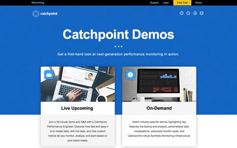 Screenshot of Landing Page catchpoint.com - Performance Monitoring - Demos || Catchpoint Systems - captured Dec. 13, 2016