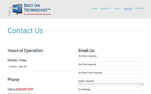 Screenshot of Contact Page boltontechnology.com - CONTACT US | BOLT ON TECHNOLOGY - captured Dec. 28, 2015