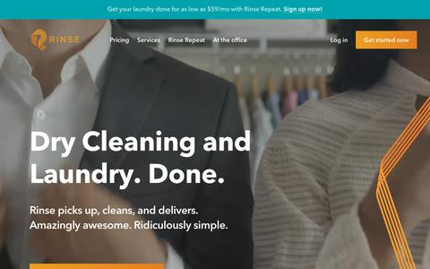 Screenshot of Home Page rinse.com - Rinse - Dry Cleaning and Laundry. Delivered. - captured June 26, 2019