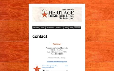 Screenshot of Contact Page wordpress.com - contact | Heritage Home Builders - captured Sept. 12, 2014
