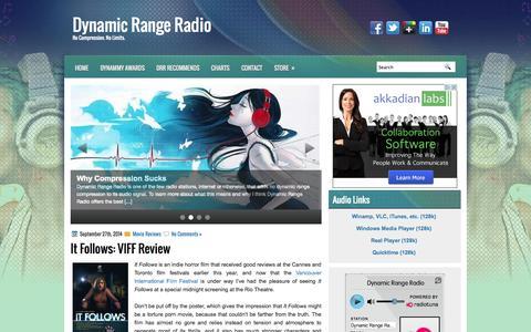 Screenshot of Home Page dynamicrangeradio.ca - Dynamic Range Radio - No Compression. No Limits. | Dynamic Range Radio - captured Sept. 30, 2014