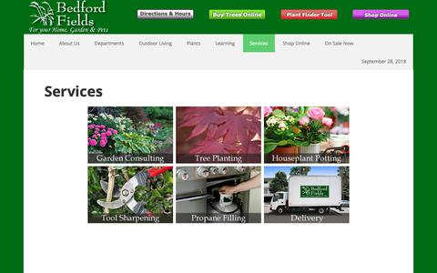 Screenshot of Services Page bedfordfields.com - Services provided at Bedford Fields | Bedford Fields Home & Garden Center - captured Sept. 28, 2018