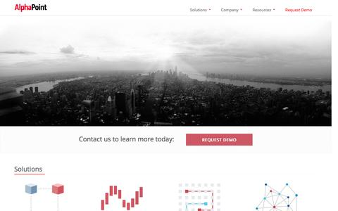 Screenshot of Home Page alphapoint.com - Blockchain Solutions & Bitcoin Exchange Software  |  AlphaPoint - captured Feb. 5, 2016