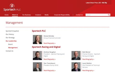 Screenshot of Team Page sportechplc.com - Management - captured Oct. 23, 2017