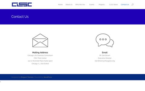 Screenshot of Contact Page chicagolsc.org - Contact Us - Chicago Life Sciences Consortium - captured Oct. 2, 2014