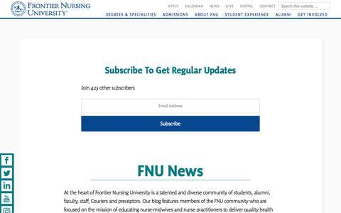 Screenshot of Press Page frontier.edu - Frontier Nursing University News | Frontier Nursing University - captured July 4, 2018