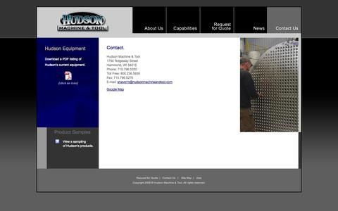 Screenshot of Contact Page Jobs Page Site Map Page hudsonmachineandtool.com - Hudson Machine and Tool, precision CNC machining and turnkey assemblies. - captured Oct. 22, 2014
