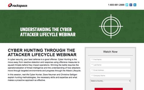 Screenshot of Landing Page rackspace.com - Cyber Hunting through the Attacker Lifecycle Webinar - captured Sept. 22, 2018