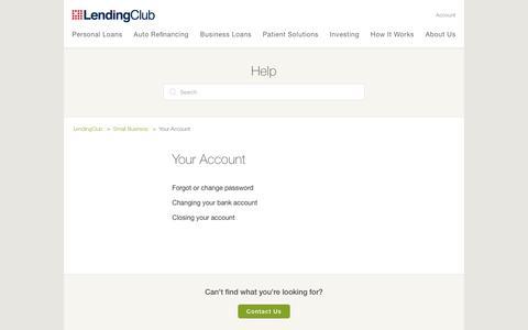 Screenshot of Support Page lendingclub.com - Your Account  – LendingClub - captured June 27, 2018