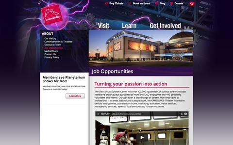 Screenshot of Jobs Page slsc.org - Job Opportunities | Saint Louis Science Center - captured Nov. 5, 2014