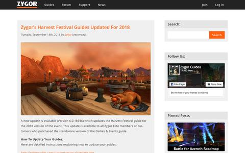 Screenshot of Blog Press Page zygorguides.com - Zygor Guides - captured Sept. 20, 2018