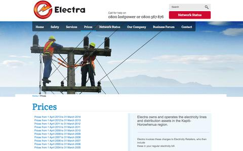 Screenshot of Pricing Page electra.co.nz - Electra - Kapiti Horowhenua electricity network company :: Prices - captured Oct. 2, 2014