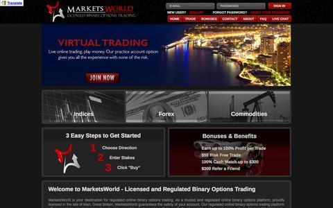 Screenshot of Home Page marketsworld.com - Binary And Forex Options Trading | MarketsWorld - captured Sept. 18, 2014