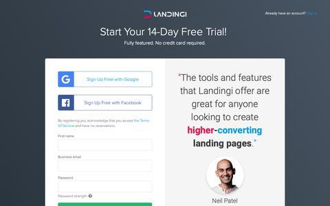 Screenshot of Trial Page landingi.com - Landingi - captured June 5, 2019