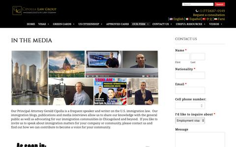Screenshot of Press Page immigrationvisaus.com - In the Media | Cipolla Law Group - captured Dec. 14, 2018